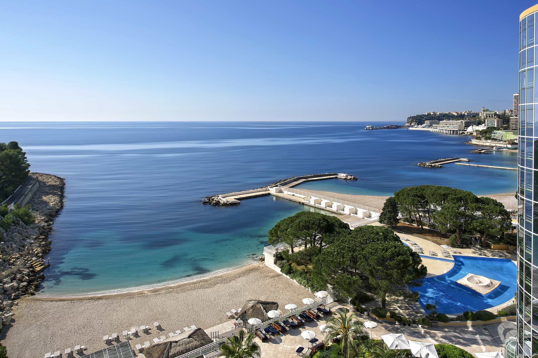 Private beach and view on Monaco bay