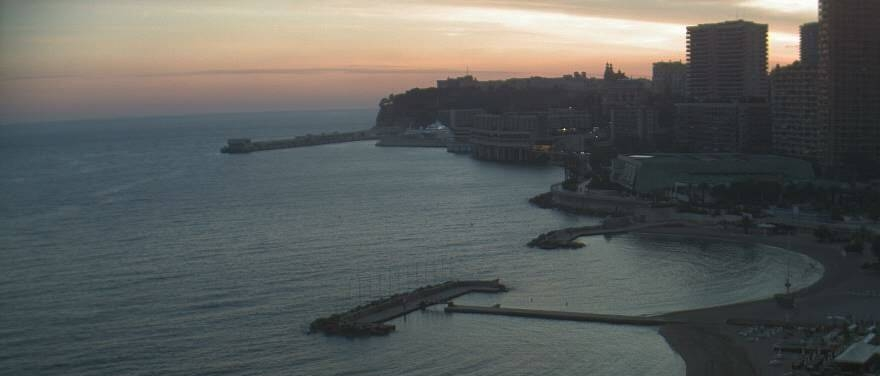 Unique twilight view of Monte Carlo's coast from Le Méridien Beach Plaza